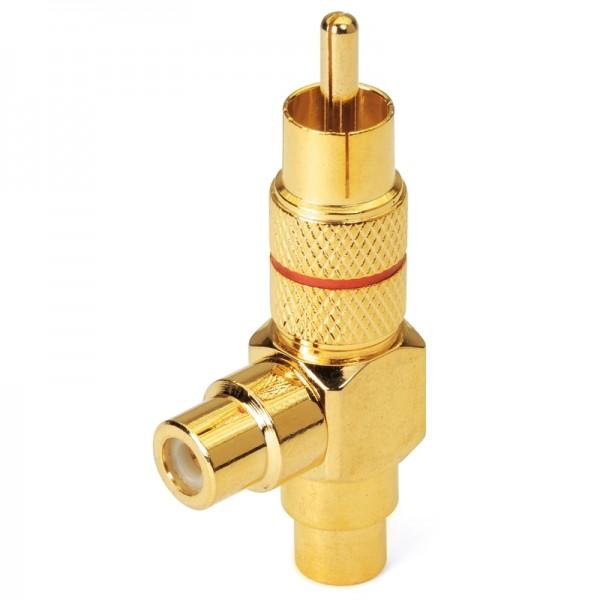 Cinchkupplung Stecker-2 x Buchse rot vergoldet Dynavox