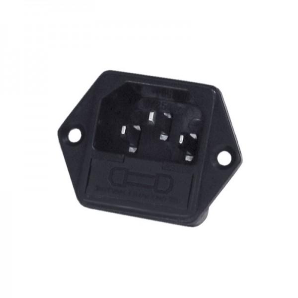 Kaltgeräte-Einbaubuchse mit Sicherungsschacht / Male BLANKO