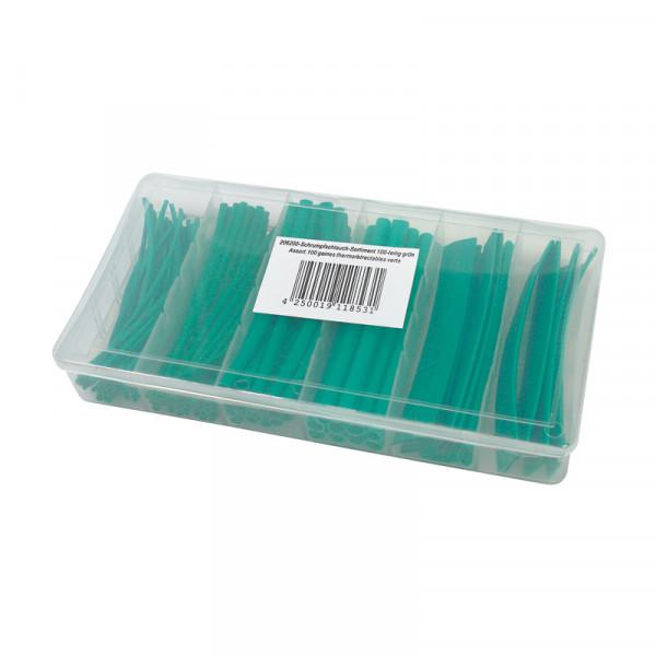Schrumpfschlauch-Sortiment 100-teilig grün, Box BLANKO