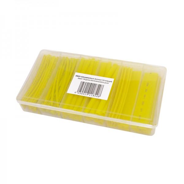 Schrumpfschlauch-Sortiment 100-teilig gelb, Box BLANKO