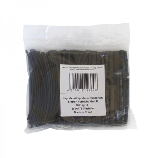 Schrumpfschlauch-Sortiment 100-teilig schwarz in Sortimentstüte BLANKO