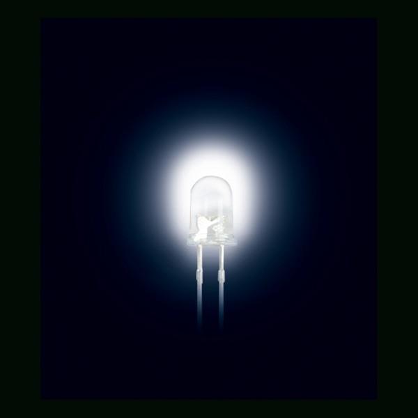 LED 3 mm Ultrahell Klar Weiss 2500MCD 10 Stück BLANKO