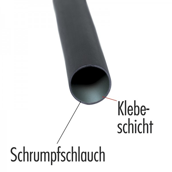 Klebe-Schrumpfschlauch 3:1 9,5 mm BLANKO 1 m, Farbe schwarz, einzeln verpackt