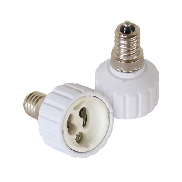 Leuchtmitteladapter E14-GU10 2er-Set BLANKO
