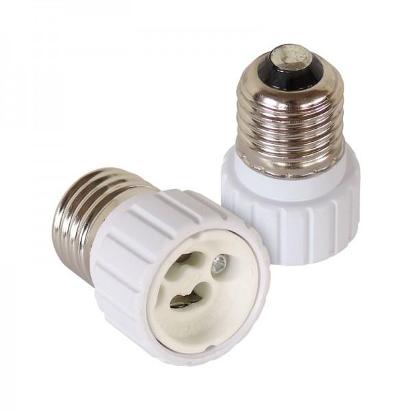 Leuchtmitteladapter E27-GU10 2er-Set BLANKO