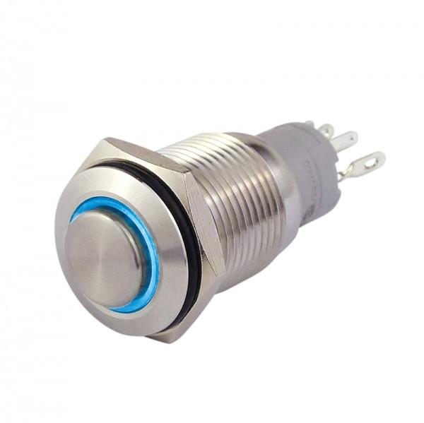 Metalltaster 16 mm mit Ringbel. blau 1 x Schliesser, 1 x Öffner BLANKO