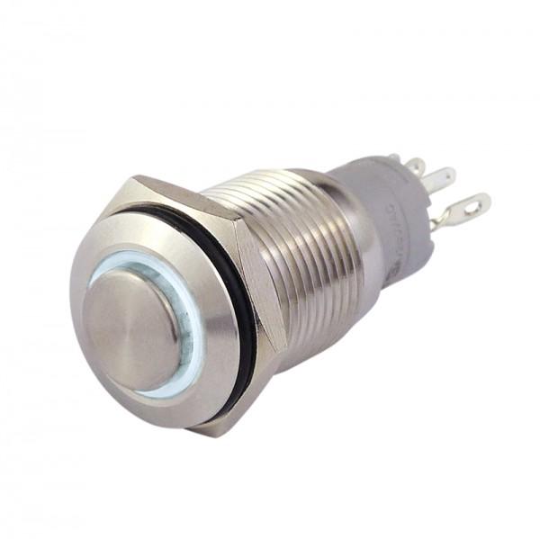 Metalltaster 16 mm mit Ringbel. weiss 1 x Schliesser, 1 x Öffner BLANKO