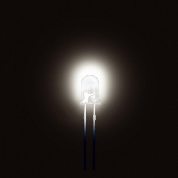 LED Warmweiss 3 mm ~8000 mcd 10 Stück BLANKO
