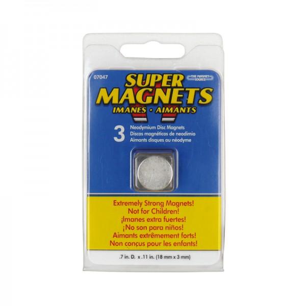 Neodymiummagnet-Set 3 Stück 18 x 3 mm BLANKO