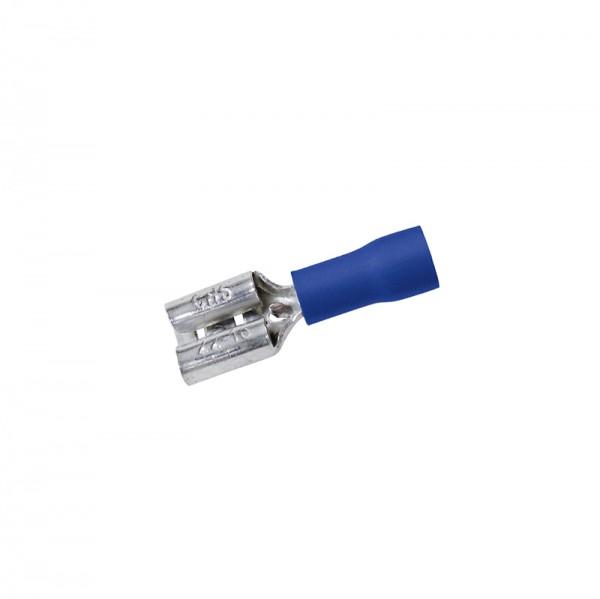 Flachsteckhülsen 0.8x6.35mm 50Stück Blau in Plastikbox BLANKO