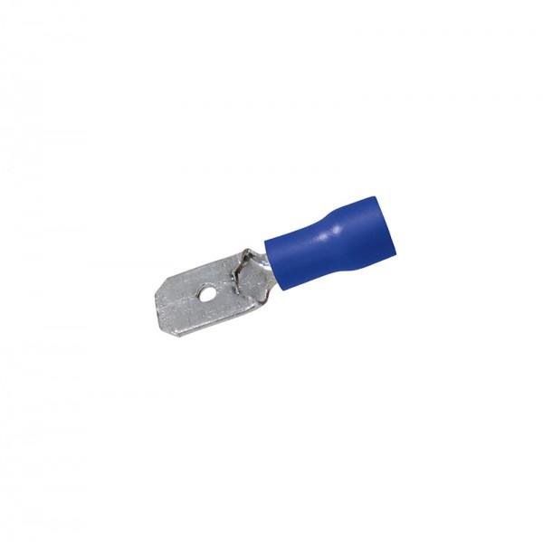 Flachstecker 0,8 x 6.35 mm 50 Stück Blau in Plastikbox BLANKO