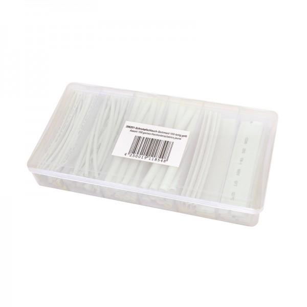 Schrumpfschlauch-Sortiment 100-teilig weiss, Box BLANKO