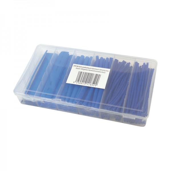 Schrumpfschlauch-Sortiment 100-teilig Blau, Box BLANKO