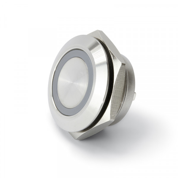 Vollmetalltaster kurz 16 mm mit Ringbeleuchtung blau BLANKO