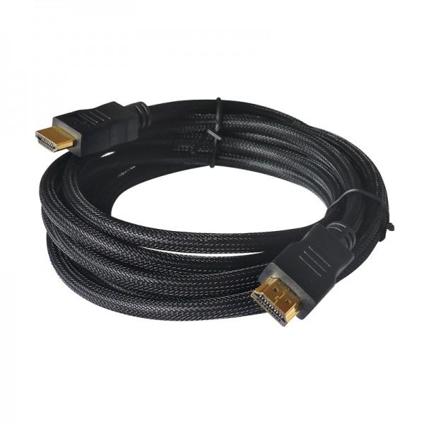 HDMI-Kabel - 1.4 vergoldet - 1,0m mit schwarzem Low Density Nylon Mantel