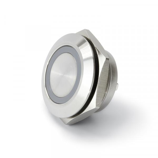 Vollmetalltaster kurz 19 mm mit Ringbeleuchtung blau BLANKO