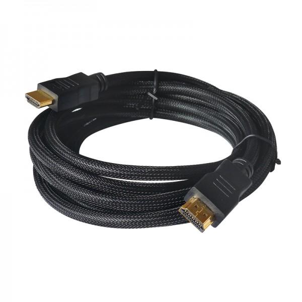 HDMI-Kabel - 1.4 vergoldet - 5,0m mit schwarzem Low Density Nylon Mantel