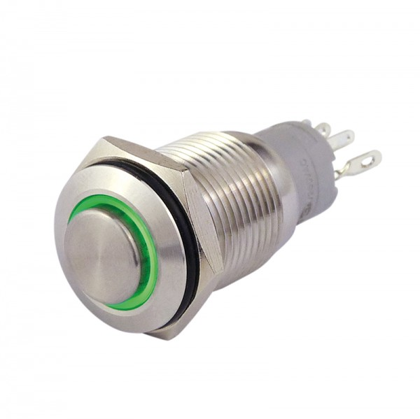 Metalltaster 16 mm mit Ringbel. grün 1 x Schliesser, 1 x Öffner BLANKO