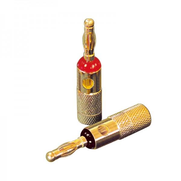 Dynavox Bananenstecker rot / schwarz 4er-Set Blisterverpackung